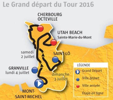 Le grand départ dans la Manche - Le Mont-Saint-Michel - Utah Beach - Granville - Cherbourg